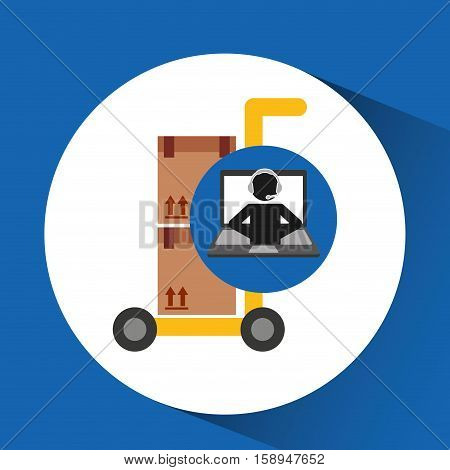 delivery call centre operator online hand truck package vector illustration eps 10