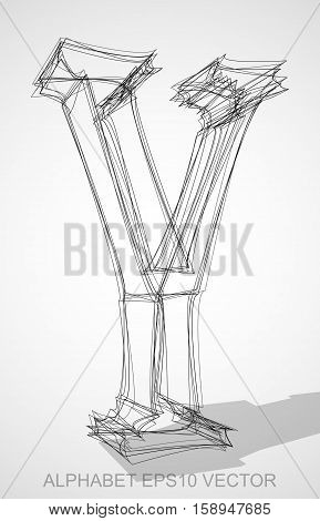Abstract illustration of a Ink sketched Y with Transparent Shadow. Hand drawn 3D Y for your design. EPS 10 vector illustration.
