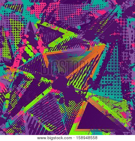 Abstract urban seamless pattern. Grunge texture background. Scuffed drop sprays triangles dots neon spray paint splash. Urban modern dirty dark wallpaper. Fashion textile sport fabric. torn