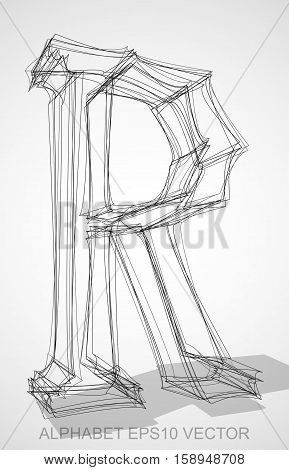 Abstract illustration of a Ink sketched uppercase letter R with Transparent Shadow. Hand drawn 3D R for your design. EPS 10 vector illustration.