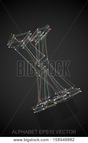 Abstract illustration of a Multicolor sketched uppercase letter X with Reflection. Hand drawn 3D X for your design. EPS 10 vector illustration.