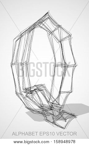 Abstract illustration of a Ink sketched uppercase letter Q with Transparent Shadow. Hand drawn 3D Q for your design. EPS 10 vector illustration.