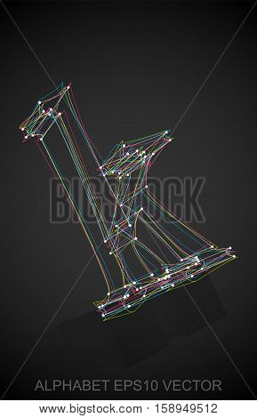 Abstract illustration of a Multicolor sketched lowercase letter K with Reflection. Hand drawn 3D K for your design. EPS 10 vector illustration.