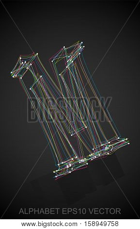 Abstract illustration of a Multicolor sketched uppercase letter M with Reflection. Hand drawn 3D M for your design. EPS 10 vector illustration.