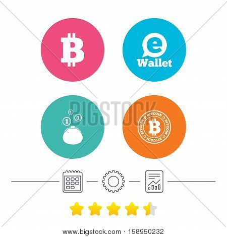 Bitcoin icons. Electronic wallet sign. Cash money symbol. Calendar, cogwheel and report linear icons. Star vote ranking. Vector
