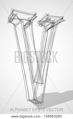 Abstract illustration of a Ink sketched uppercase letter V with Transparent Shadow. Hand drawn 3D V for your design. EPS 10 vector illustration.