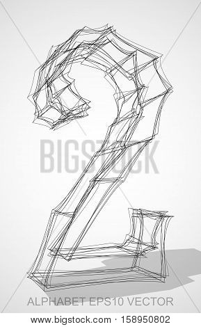Abstract illustration of a Ink sketched 2 with Transparent Shadow. Hand drawn 3D 2 for your design. EPS 10 vector illustration.