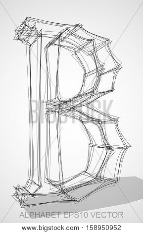 Abstract illustration of a Ink sketched uppercase letter B with Transparent Shadow. Hand drawn 3D B for your design. EPS 10 vector illustration.