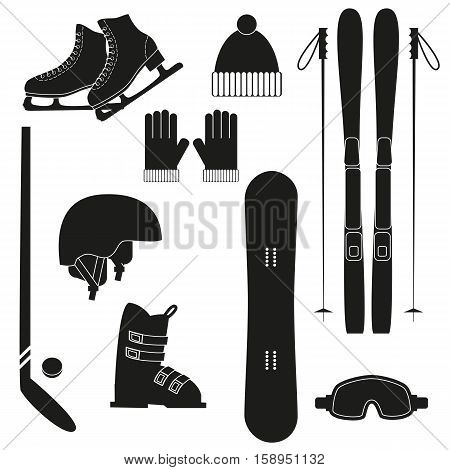 Winter black sports icons on white background. Set of winter sports equipment. Vector illustration.