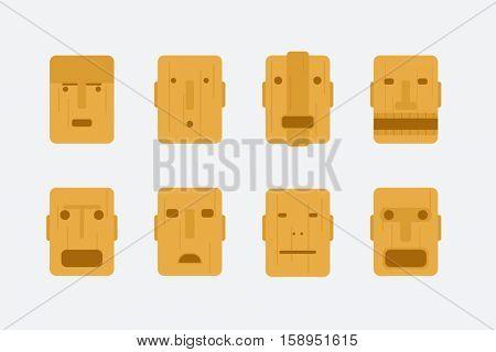 wooden tribal mask. vector set
