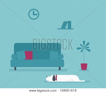 dog lying in the living room with sofa