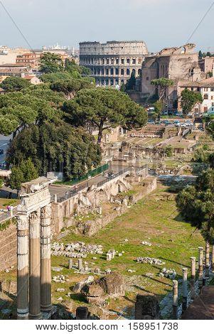The Roman Forum (Latin: Forum Romanum) in Rome Italy
