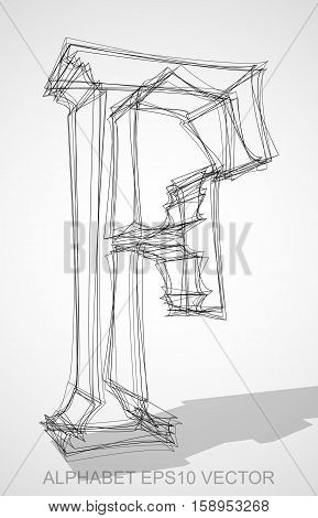 Abstract illustration of a Ink sketched uppercase letter F with Transparent Shadow. Hand drawn 3D F for your design. EPS 10 vector illustration.