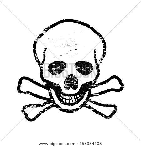 Skull and crossbones grungy rubber stamp symbol vector illustration