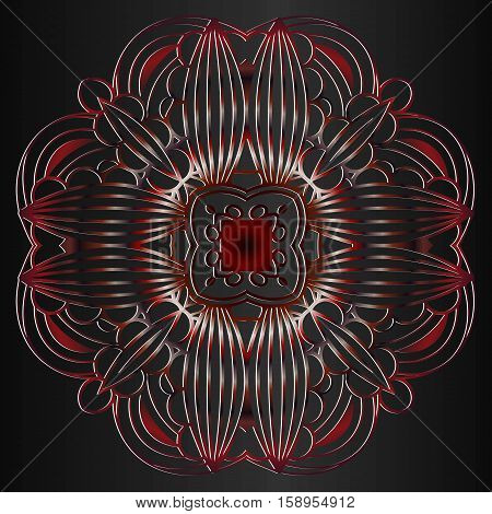abstract decor embossed openwork rosette red tree on a dark background