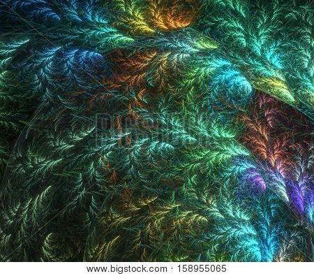 Abstract fractal background - computer-generated image. Chaos lines like a quill or tree branch with leaves on background. Fractal artwork for banners, posters, web design.