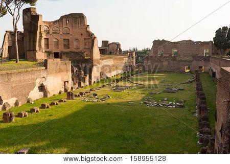 Ancient Roman ruins of the Imperial Palace at Palatine Hill Rome Italy
