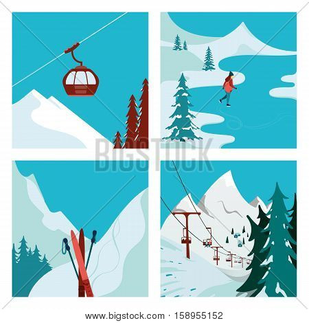 Ski Lift in the mountains. Girl skating. Winter landscape. Vector illustrations.