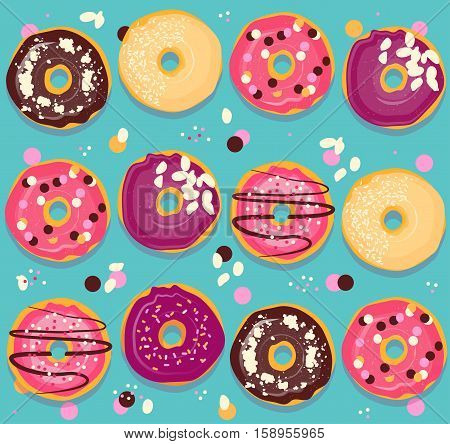 Seamless background with multicolored glazed donuts in flat style.