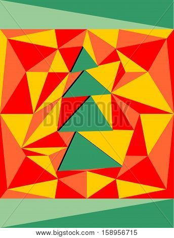 Illustration with a Christmas tree. Red background of the prisms. Fashion trend.