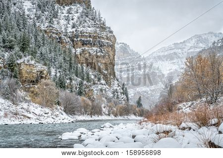 Snow storm over Colorado River in Glenwood Canyon at Grizzly Creek Rest Area