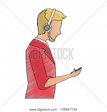 avatar boy with mp3 icon. Device gadget technology theme. Isolated design. Vector illustration
