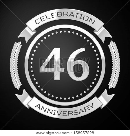 Forty six years anniversary celebration with silver ring and ribbon on black background. Vector illustration