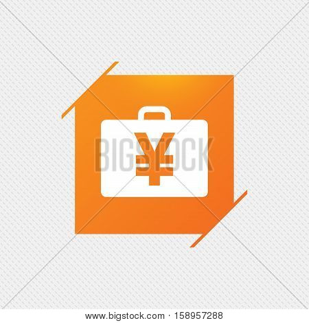 Case with Yen JPY sign icon. Briefcase button. Orange square label on pattern. Vector