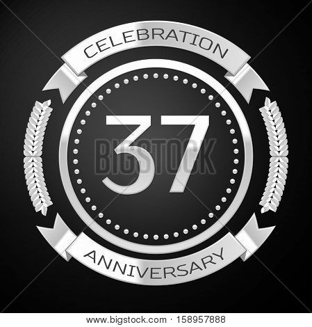 Thirty seven years anniversary celebration with silver ring and ribbon on black background. Vector illustration
