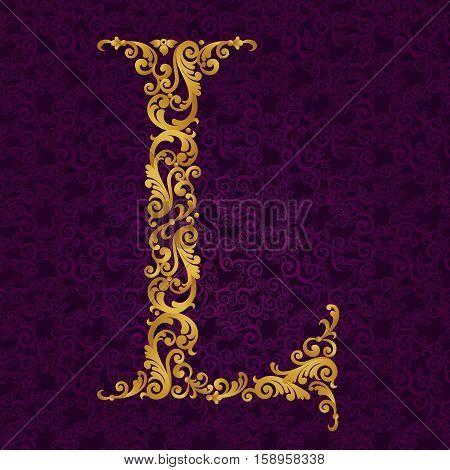 Gold Font Type Letter L, Uppercase.