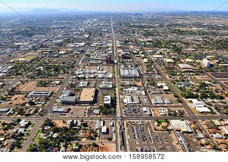 Above Main Street in Mesa Arizona looking West towards Tempe and Phoenix Arizona