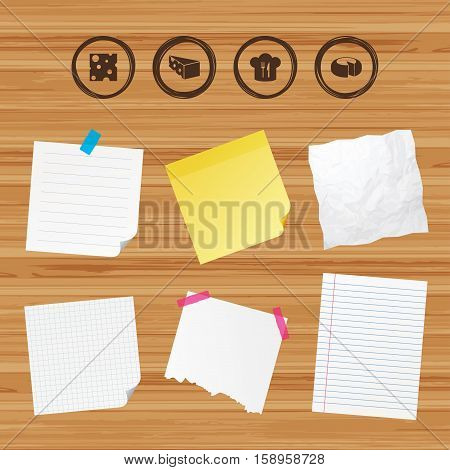 Business paper banners with notes. Cheese icons. Round cheese wheel sign. Sliced food with chief hat symbols. Sticky colorful tape. Vector