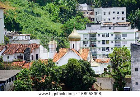 Unique in the world St Martyr Zenaida Russian Orthodox Church in the neighborhood of Santa Tereza, Rio de Janeiro, Brazil