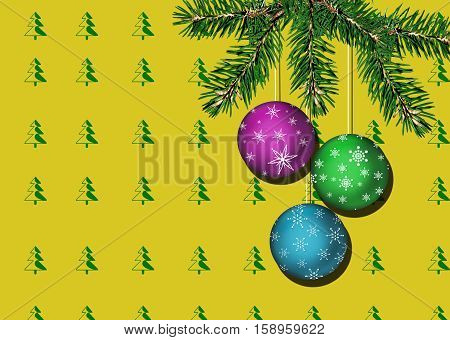 Beautiful Christmas Background consisting of a wall with yellow wallpaper with print fir tree and fir branch alive with Christmas balls close-up.
