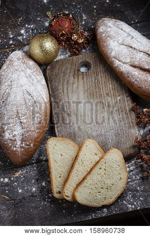 Bread On The Wooden Background With Flour. View From Above. Collage With Sandwiches, Bread, Christma