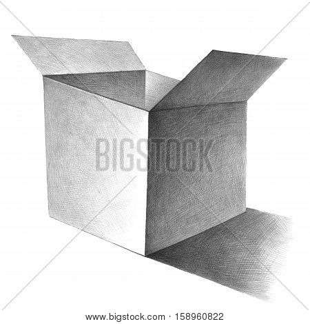 Hand drawn illustration of the box by graphite pencil