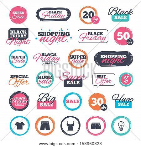 Sale shopping stickers and banners. Clothes icons. T-shirt and pants with shorts signs. Swimming trunks symbol. Website badges. Black friday. Vector