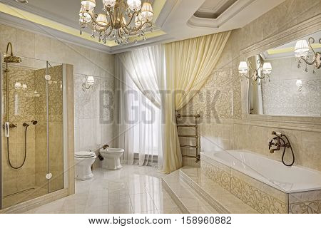 Russia,Moscow region - bathroom interior in luxury country house
