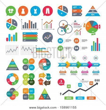 Business charts. Growth graph. Clothes icons. T-shirt with business tie and pants signs. Women dress symbol. Market report presentation. Vector