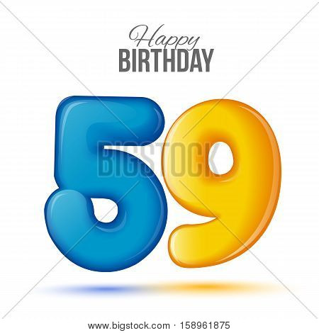 fifty nine birthday greeting card template with 3d shiny number fifty nine balloon on white background. Birthday party greeting, invitation card, banner with number 59 shaped balloon