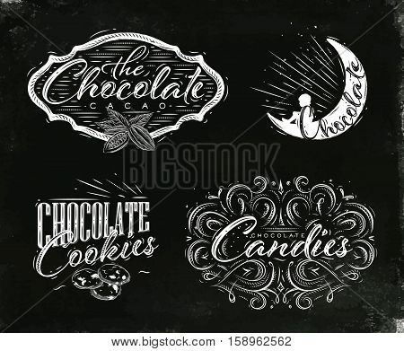 Set chocolate labels in vintage style lettering the chocolate cacao choco night cookies candies drawing on black watercolor background