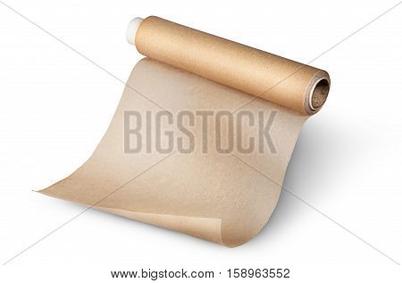 Unwound roll of parchment paper for baking isolated on white background