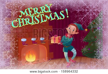 Elf holding christmas gift standing near fireplace. Christmas interior with fireplace christmas tree and santa's elf cartoon character. Vector illustration