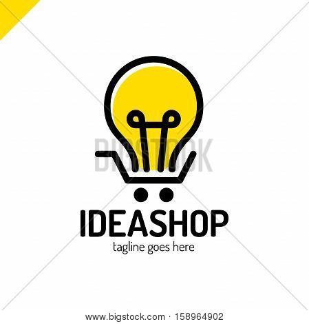 Illustration Of An Isolated Line Art Light Bulb Icon With A Shopping Cart. Idea Shop Logo.