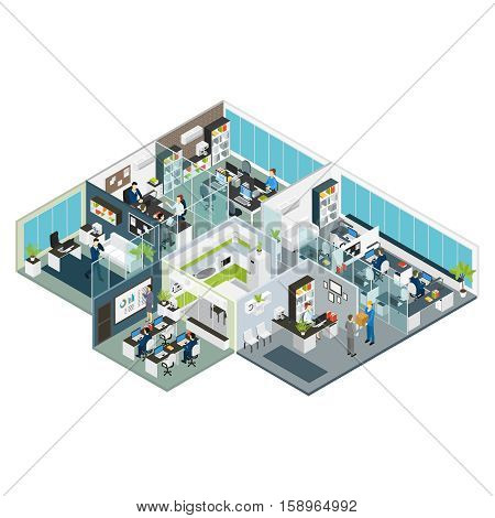 Set room office isometric with isolated rooms combined in big office building on one floor vector illustration