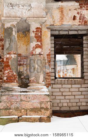 Scenic classical columns. Ruin. Broken Column. Dilapidated buildings in Russia
