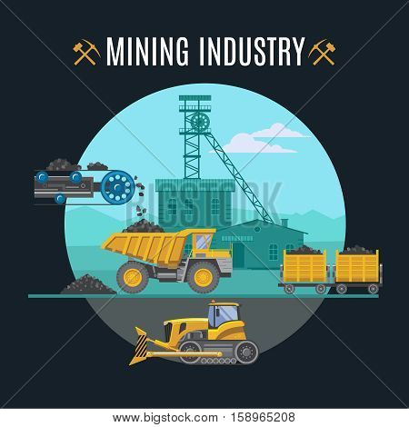 Mining industry icons round composition with flat symbols of mining technics buildings and editable title text vector illustration