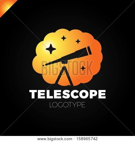 Astronomy Vector Logo Design Template. Telescope Or Horoscope In Cloud With Star Icon