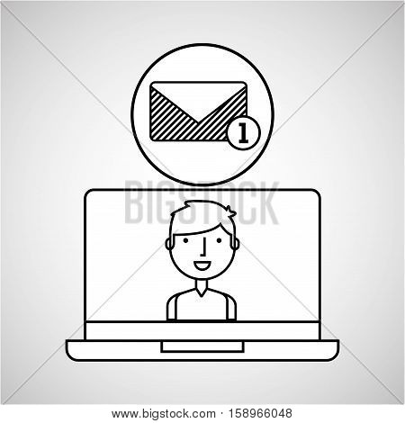 character draw email inbox technology social media vector illustration eps 10