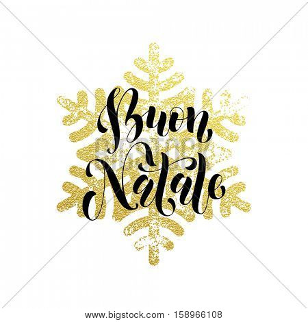 Christmas in Italy Buon Natale golden Italian greeting card lettering. Vector pattern of winter golden and silver crystal snowflake, ornaments. Golden Christmas decoration with gold foil glitter